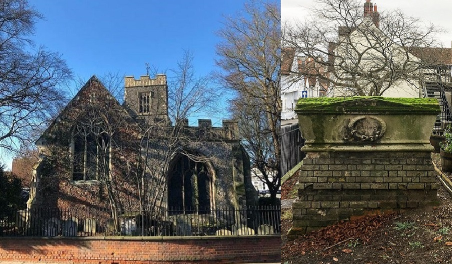 All Saint's Church (now the Natural History Museum) & a large tomb at St Martin's Church